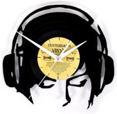 Zwarte Yesterdays Vinyl Vinyl Wandklok Koptelefoon - DJ - Klok - LP – 24,5 CM
