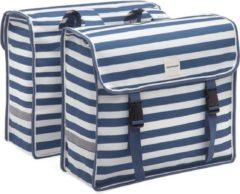 New Looxs Blue Stripe Fiori Dubbele Fietstas - 30 liter - Blauw / Wit