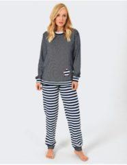 Normann Schlafanzug Frottee Normann dunkelblau/weiß