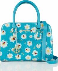 Blauwgroene Shagwear Handtas - Trendy Schoudertas - Dames - Kunstleer - Bloemen (SHB 009810)