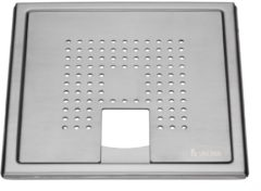 Roestvrijstalen Afvoerrooster Smedbo Outline Met Vierkant Patroon Voor Badkuip 20 x 20 x 0.55 cm Geborsteld RVS