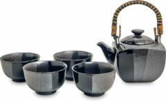 Living with tea Japanse Thee set - 5 delig - Luxe Thee Set - Traditionele Thee Set - Zwart - Porselein Theepot met Mokken - 4 Porselein kopjes - Met RVS theezeefje/ theefilter