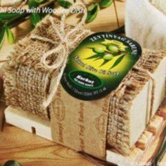 Olijfzeep Olivos | Traditioneel geurzeep met houten zeephouder | Zeeptablet met olijfolie | Badzeep | Handzeep