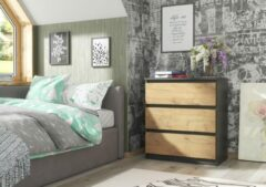 Antraciet-grijze Pro-meubels - Ladekast - Commode - 70cm - Norton - 3 lades - Antraciet - Eiken