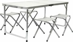 Grijze AMANKA Inklapbare, in hoogte verstelbare campingtafel 120x60x70cm incl. 4 inklapbare krukken Campingtafel s