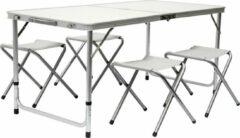 AMANKA Inklapbare, in hoogte verstelbare campingtafel 120x60x70cm incl. 4 inklapbare krukken Campingtafel s