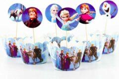 ProductGoods - 12 Stuks Frozen Mini Cupcake Bakjes + 12 Cupcake Frozen Versiering - Kinderen - Kinderfeestje - Party - Taart Decoraties - Verjaardag Decoratie - Happy Birthday - Frozen - omslagen - omslag - mini cupcake vormpjes