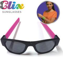 Clix Zonnebril inklapbaar Roze - vakantiegadget 2019 - opvouwbare zonnebril - oprolbare pootjes - fietsbril - festivalbril - hang aan je stoel of fiets - rol om je pols - handige bril