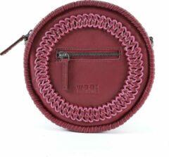Donkerrode WE R REBLZ® Lederen/leren dames tas | Kess Leather women bag | Rond | Wijnrood | Burgundy | Crossbody