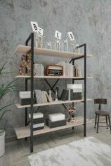 Woodhouse Sahra Wandkast Industrieel Hout en Metaal - Industriële Boekenkast - Open Vakkenkast - 5 Planken - Design Meubel - Zwart en Taupe - 90x35x150