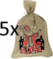 Bruine Sinterklaaszak - Jute zak - Jutezak 80x50 cm - 5 stuks