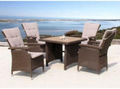 Rattan Sitzgruppe 5tlg mit Tisch 90x90cm Essgruppe Sitzgarnitur Ibiza Famous Home Braun