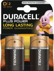 Alkalinebatterijen DURACELL Plus Power DURLR20PB2 LR20 D 1.5V (2 pcs)