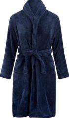 Marineblauwe Relax Company Kinderbadjas - donkerblauw - fleece - meisjes & jongens - ochtendjas- maat 152/158