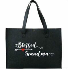 Budget-Boxer Vilten Boodschappentas #Blessed Grandma - Moederdag - kleur zwart