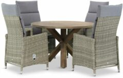 Taupe Garden Collections Madera/Sand City rond 120 cm dining tuinset 5-delig