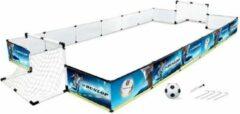 Blauwe Dunlop Set Voetbal - Omheining, 2x Voetbaldoel, Voetbal en Pomp - 426 x 235 x 36 cm