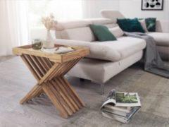 Wohnling Beistelltisch MUMBAI Massivholz Akazie Design Klapptisch Serviertablett und Tisch-Gestell klappbar Landhaus-Stil