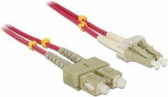 Paarse DeLOCK LC - SC Duplex Optical Fiber Patch kabel - Multi Mode OM4 - 1 meter
