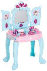 HOMCOM Schminktisch Kinder Frisiertisch Musik und Licht Hellgrün+Rosa Kinder Frisiertisch Kosmetiktisch Kinderspielzeug