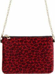 Yehwang Tasje met luipaard/panter/dieren print, rood