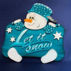"""Beige Türschild Schneemann """"Let it snow"""""""