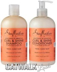 Shea Moisture Coconut & Hibiscus Curl & Shine, Shampoo and Conditioner Set, Silk , 13 Oz Each