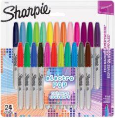 Sharpie permanente marker Electro Pop, fijn, blister van 24 stuks in geassorteerde kleuren