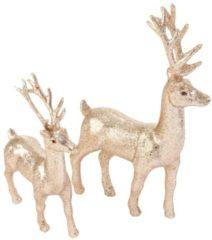 Dekofiguren-Set, 2-tlg. Glitter Deer RWH goldfarben