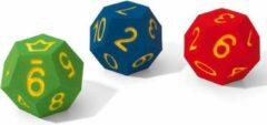 Volley 12 Kantige Dobbelsteen Foam| Hoogte ca 20 cm | Foam Dobbelsteen met Joker| Cijfers 0 t/m 10| Rood