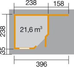 Blokhut Fides 2 Gr. 1 442 x 278cm antraciet/wit