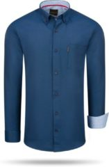 Marineblauwe Cappuccino Regular Fit Overhemd Navy Regular Fit Overhemd Heren Overhemd Maat L
