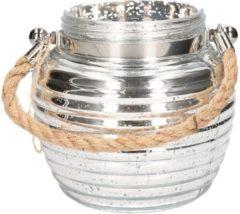 Merkloos / Sans marque Home deco windlicht lantaarn zilver 13 cm