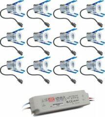 Grijze HOFTRONIC™ Complete veranda set 12x3W niet dimbare Milano LED inbouwspots IP65 [spatwaterdicht]