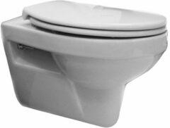 Douche Concurrent Toiletpot Hangend Trevi 53x36.5x36cm Wandcloset Keramiek Diepspoel Nano Coating EasyClean Rimfree Glans Wit met Softclose Toiletbril