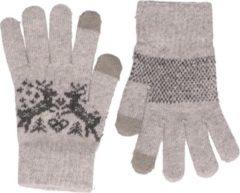 Witte Merkloos / Sans marque Gebreide winter handschoenen Nordic/grijs voor dames met teddy voering