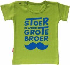 Grijze Merkloos / Sans marque Babygoodies T-shirt Zwangerschapsaankondiging - Stoer ik word grote broer snor (Lime 5-6j)