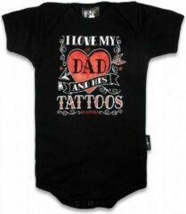 Rode Six Bunnies Romper I Love My Dad Tattoos Maat 0-3 mnd