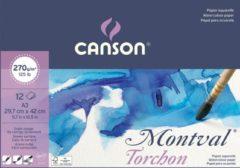 Montal Montval aquarelpapier, wit met grove korrel 270 g/m?, ft A3, blok met 12 vellen