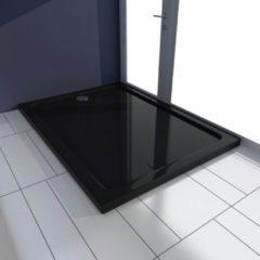VidaXL Piatto doccia rettangolare in ABS nero 80 x 110 cm