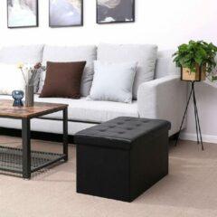 SONGMICS kruk Opvouwbare bank 80 L zitkist belastbaar tot 300 kg 76 x 38 x 38 cm zwart LSF45BK