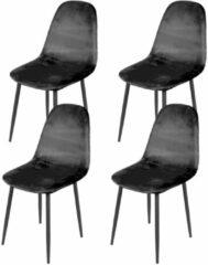 Gebor Set van 4 eetkamerstoelen fluweel – Model Inoui - Modern Ontworpen Stoel – Zwart Velvet – Design – Fluweel - Zwart