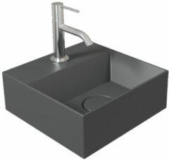 Antraciet-grijze Fontein Salenzi Spy 30x30 cm Mat Antraciet (inclusief bijpassende waste)