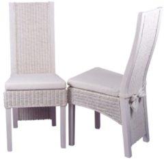 Möbel direkt online Moebel direkt online Rattanstuhl 2er-Set Stühle im 2er Pack Massivholzstühle mit Rattan handgeflochten weiß gewischt