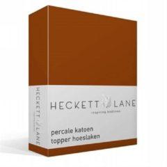 Oranje Heckett & Lane Heckett Lane Hoeslaken Topper Percal Terra-90 x 220 cm