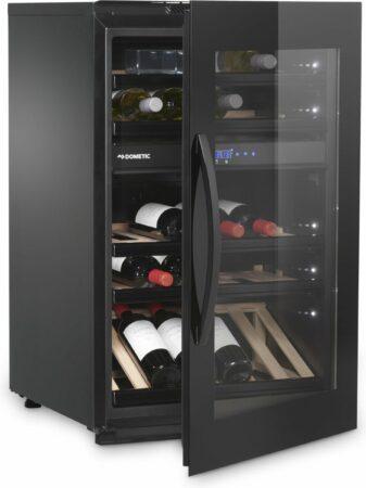 Afbeelding van Zwarte DOMETIC Elegance E49FGB INBOUW WIJNKLIMAATKAST MET GLAZEN DEUR, 2 Temperatuurzones , 49 Flessen A+