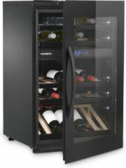 Zwarte DOMETIC Elegance E49FGB INBOUW WIJNKLIMAATKAST MET GLAZEN DEUR, 2 Temperatuurzones , 49 Flessen A+