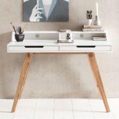 Wohnling Schreibtisch SKANDI 110 x 85 x 60 cm MDF-Holz skandinavisch weiß matt Arbeitstisch Design Laptoptisch mit Kabeldurchlass Bürotisch mit Eich