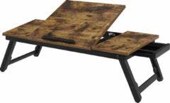 Songmics Laptoptafel, laptopstandaard, notebooktafel, ontbijtdienblad, inklapbare poten, in hoogte verstelbaar, voor bed en bank, voor laptops tot 14,3 inch, 71 x 35 x 23 cm, vintage bruin LLD110B01