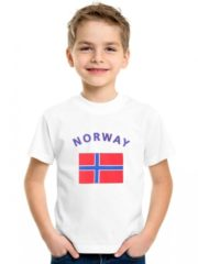 Witte Fun & Feest Party Gadgets Kinder t-shirt vlag Norway L (134-146)